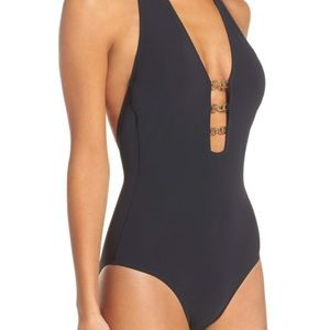 Tory Burch Gemini Link Plunge black bathing suit
